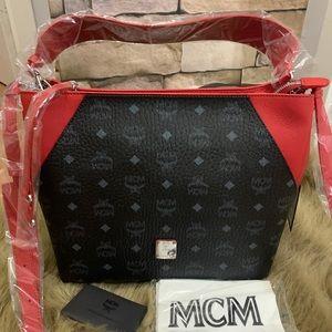 Authentic MCM Leather logo zip Shoulder/Crosby